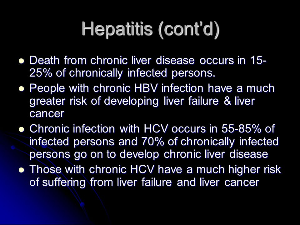 Hepatitis (cont'd) Death from chronic liver disease occurs in 15-25% of chronically infected persons.