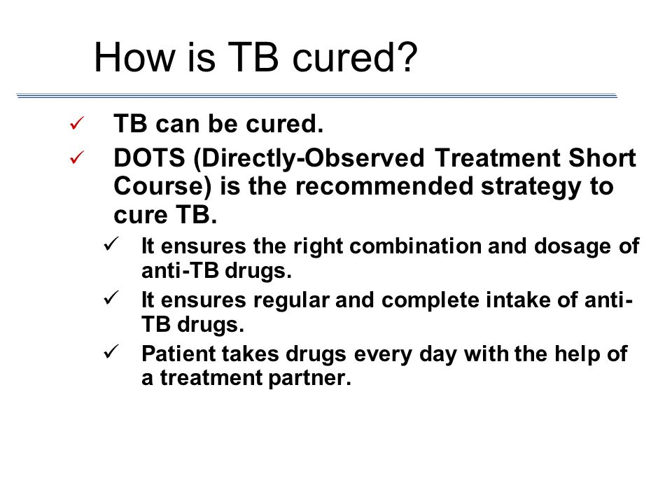 How is TB cured TB can be cured.