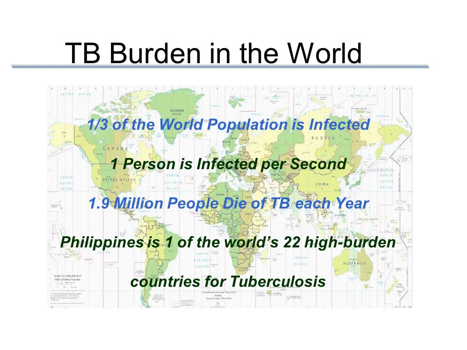 TB Burden in the World 1/3 of the World Population is Infected