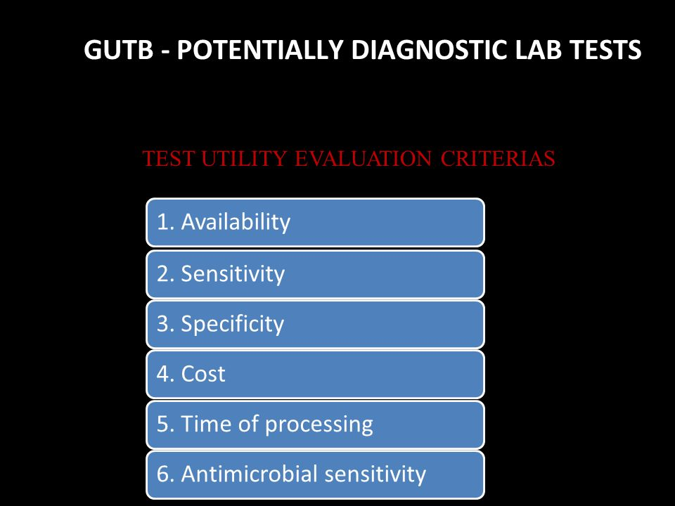 GUTB - POTENTIALLY DIAGNOSTIC LAB TESTS