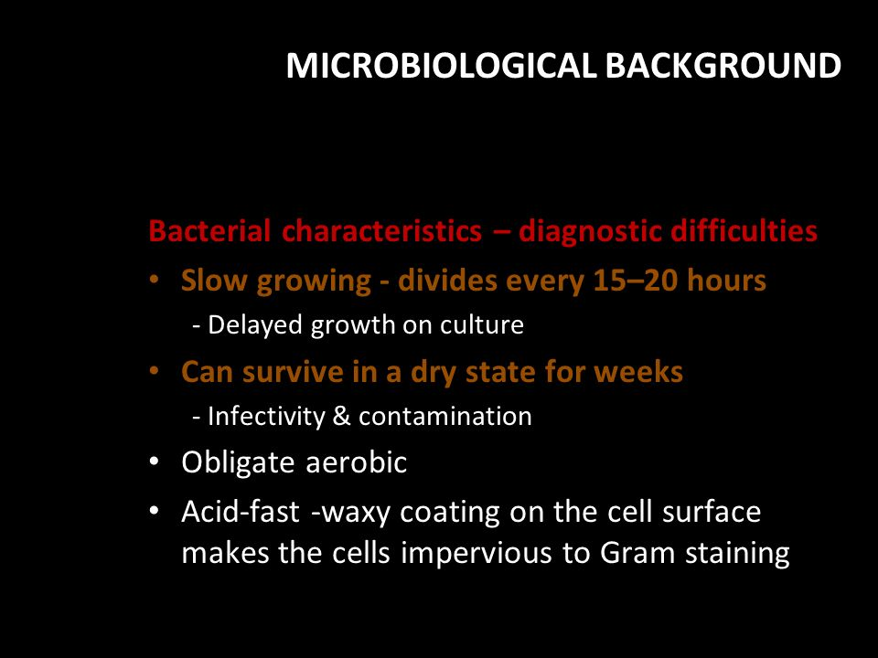 MICROBIOLOGICAL BACKGROUND
