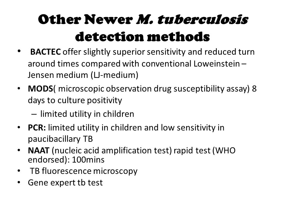 Other Newer M. tuberculosis detection methods
