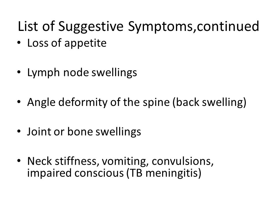 List of Suggestive Symptoms,continued
