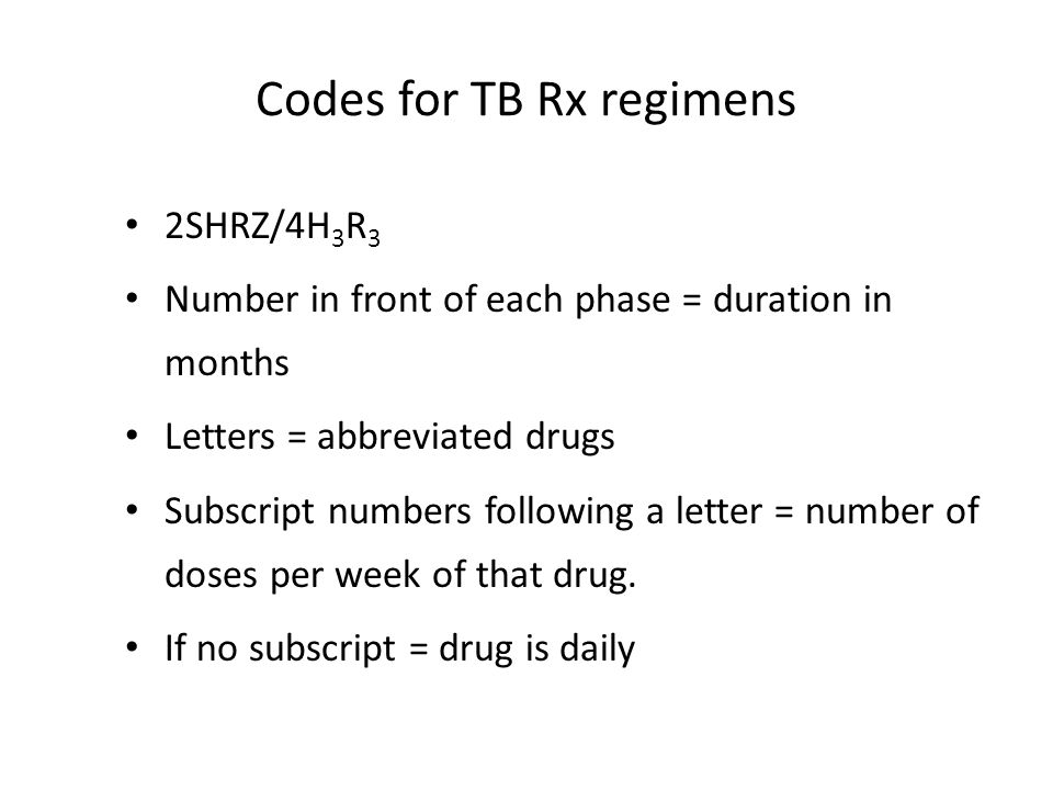 Codes for TB Rx regimens