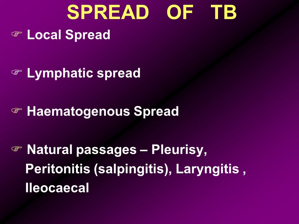 SPREAD OF TB Local Spread Lymphatic spread Haematogenous Spread