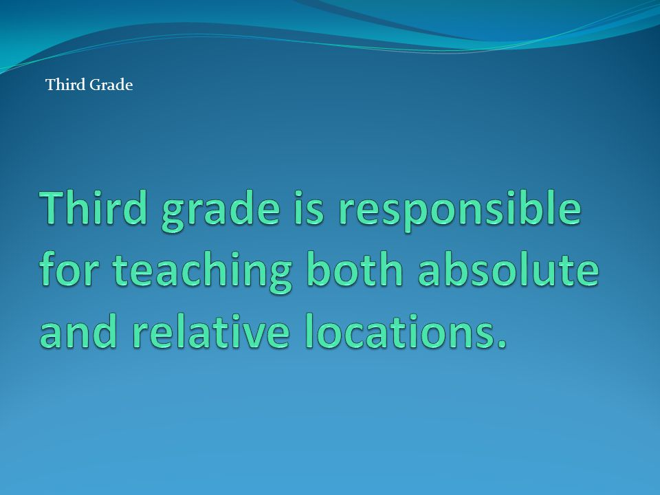 Third Grade Third grade is responsible for teaching both absolute and relative locations.