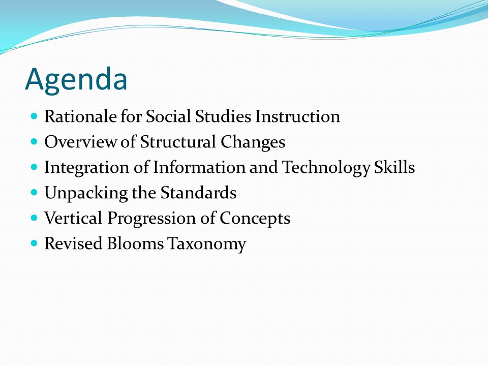 Agenda Rationale for Social Studies Instruction