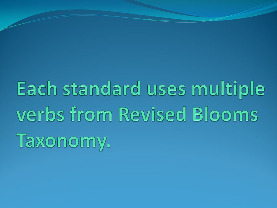 Each standard uses multiple verbs from Revised Blooms Taxonomy.