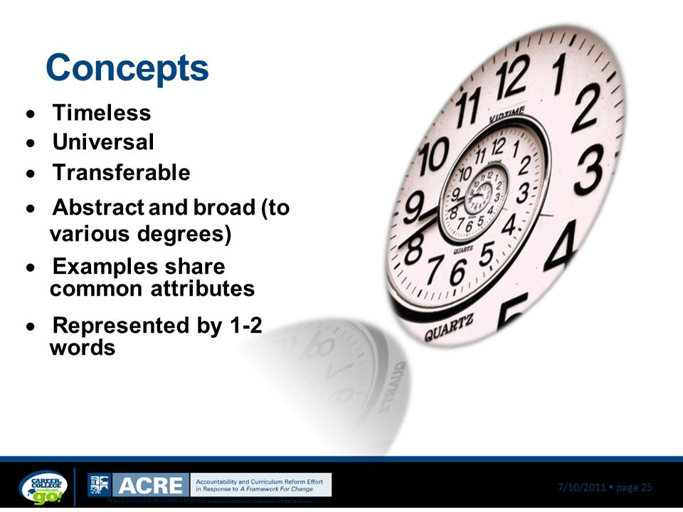 Concepts Timeless Universal Transferable Abstract and broad (to