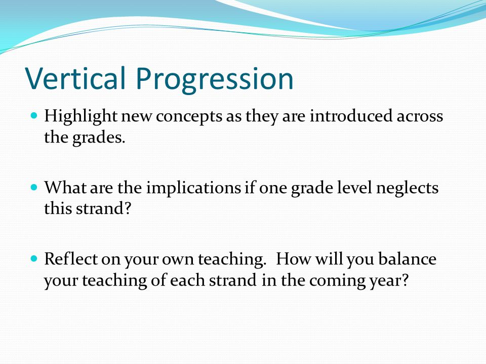 Vertical Progression Highlight new concepts as they are introduced across the grades.