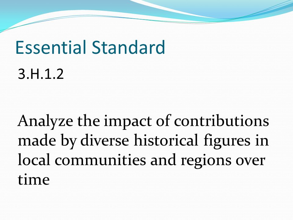 Essential Standard 3.H.1.2 Analyze the impact of contributions made by diverse historical figures in local communities and regions over time