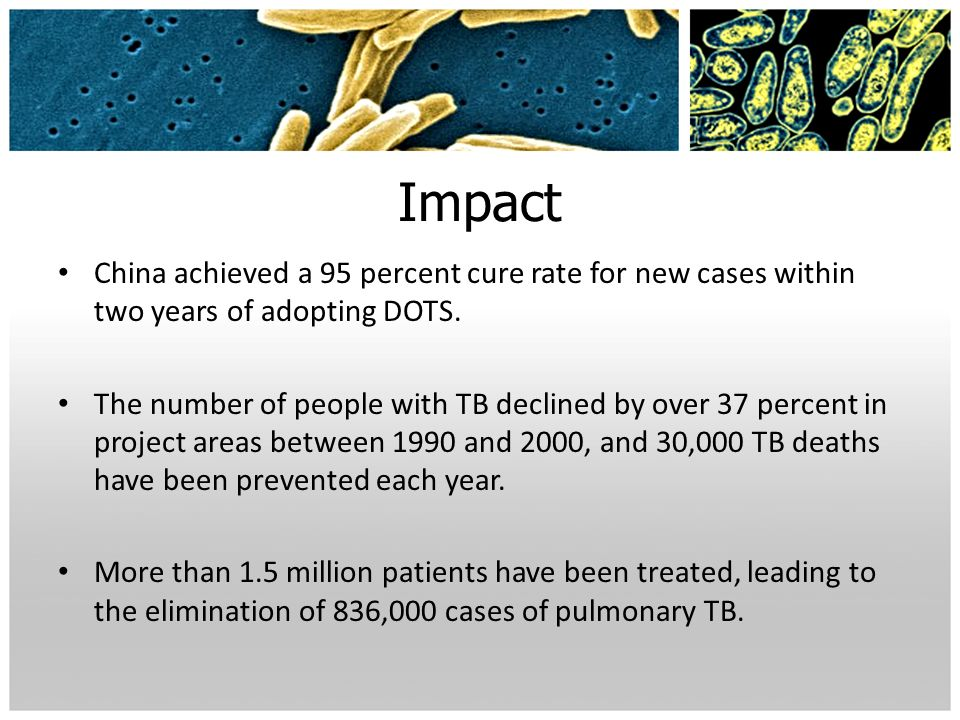 ImpactChina achieved a 95 percent cure rate for new cases within two years of adopting DOTS.