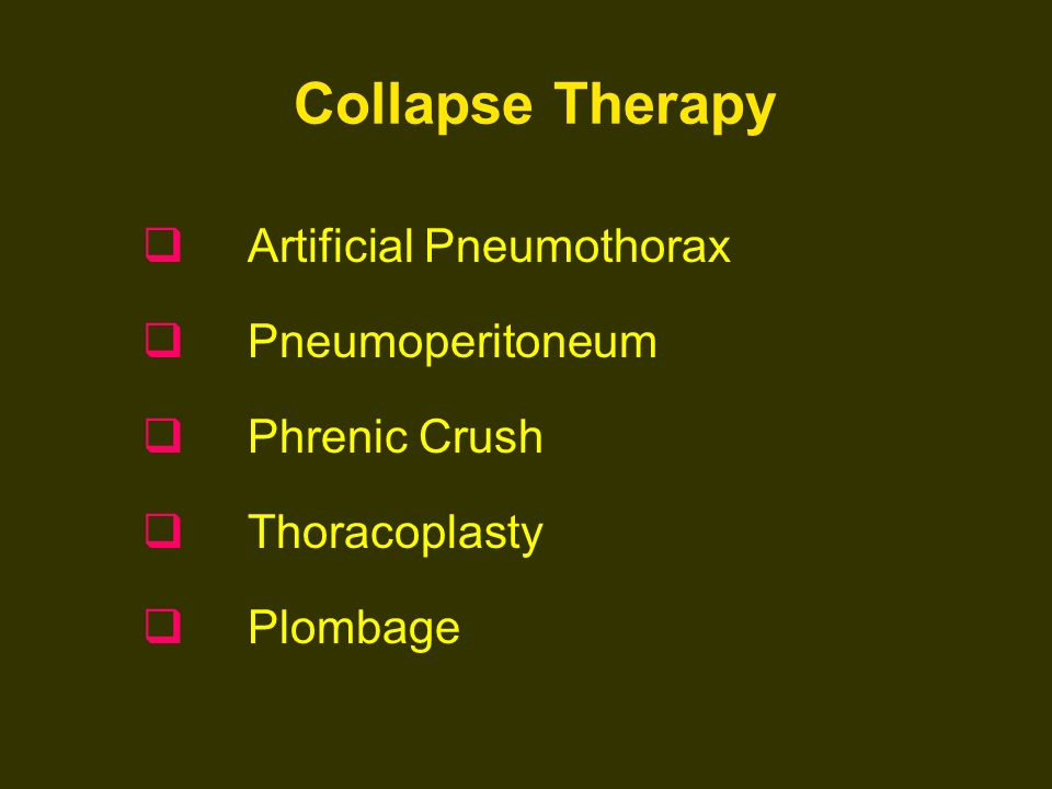 Collapse Therapy Artificial Pneumothorax Pneumoperitoneum