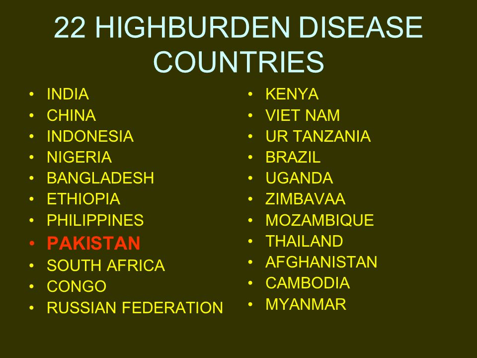22 HIGHBURDEN DISEASE COUNTRIES