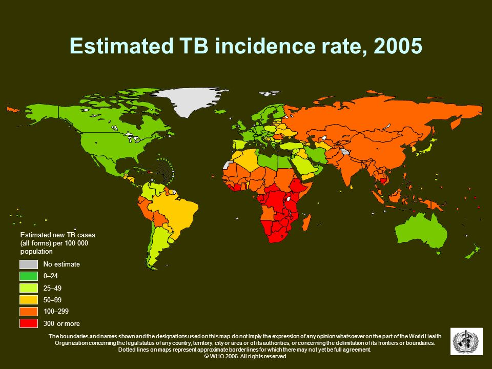 Estimated TB incidence rate, 2005