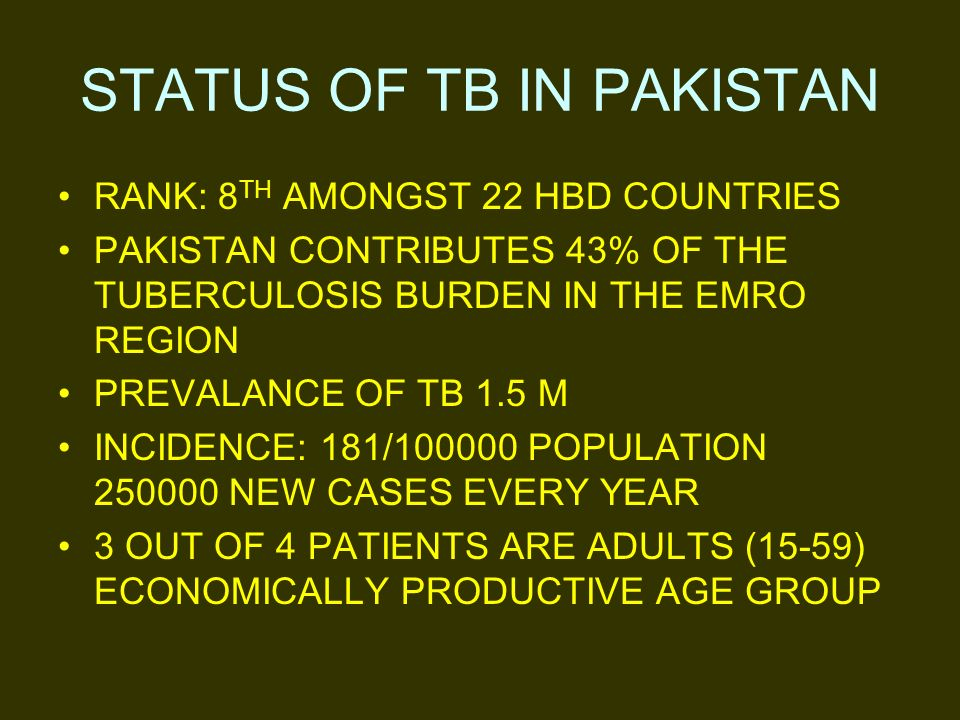 STATUS OF TB IN PAKISTAN