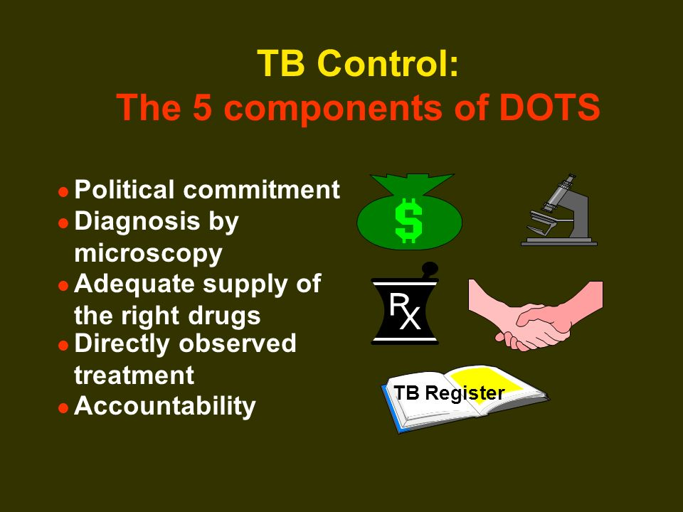 TB Control: The 5 components of DOTS Political commitment