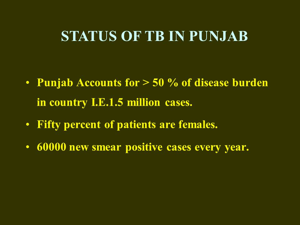 STATUS OF TB IN PUNJAB Punjab Accounts for > 50 % of disease burden in country I.E.1.5 million cases.