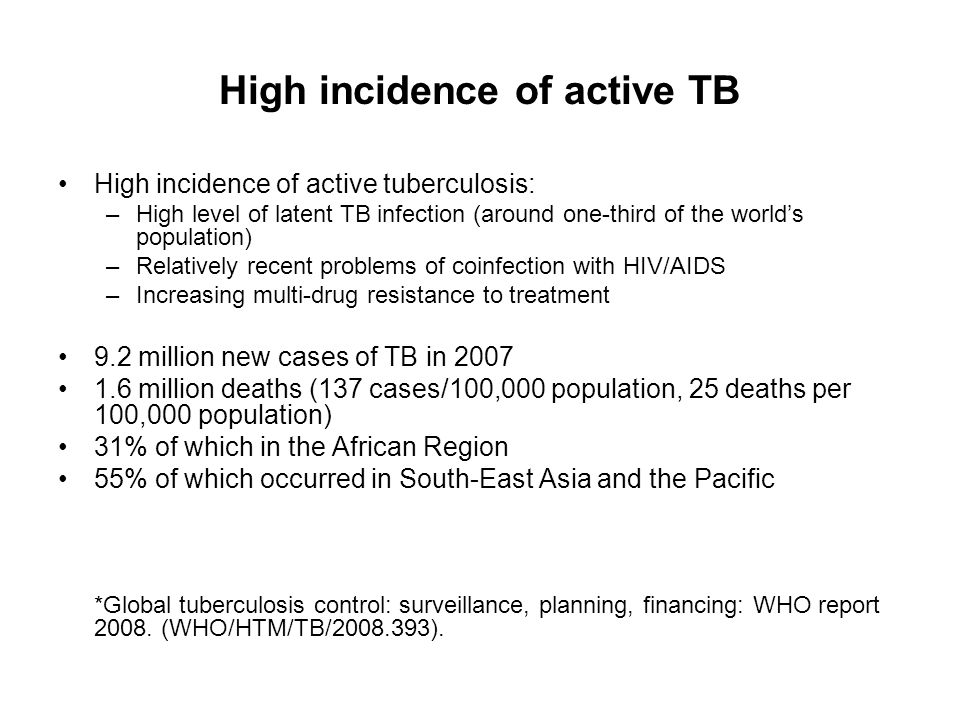 High incidence of active TB