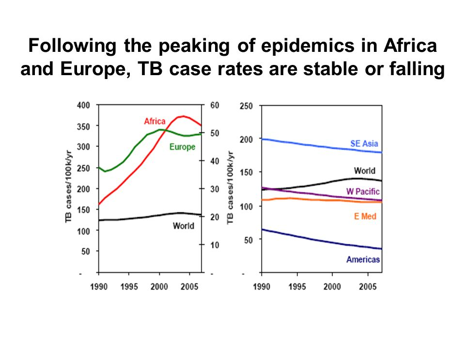 Following the peaking of epidemics in Africa and Europe, TB case rates are stable or falling