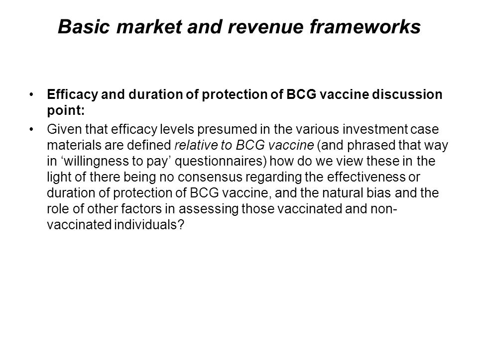 Basic market and revenue frameworks