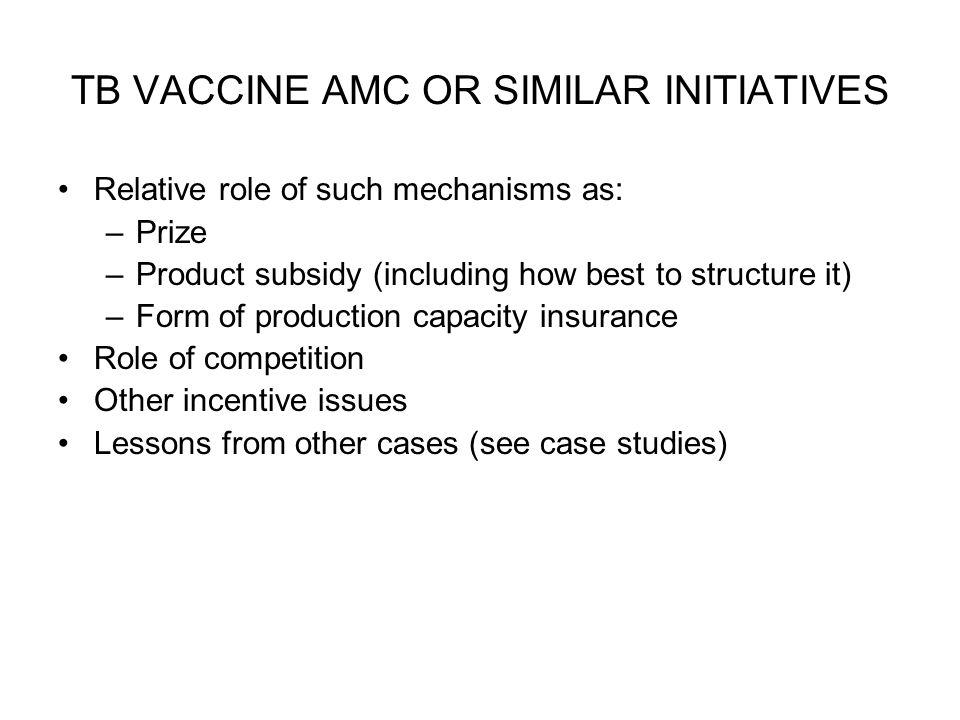TB VACCINE AMC OR SIMILAR INITIATIVES