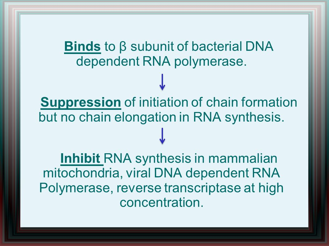 Binds to β subunit of bacterial DNA dependent RNA polymerase