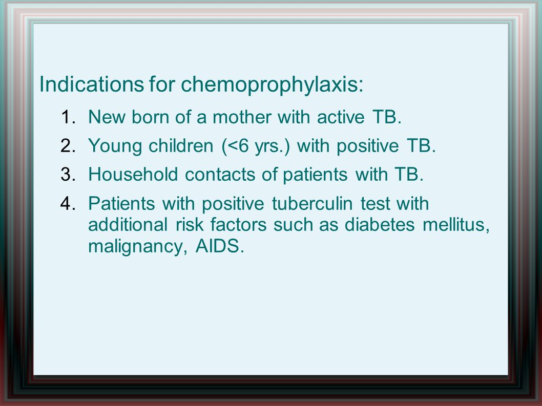 Indications for chemoprophylaxis: