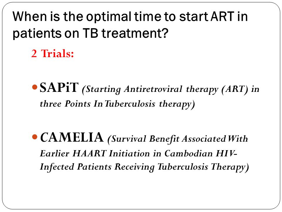 When is the optimal time to start ART in patients on TB treatment