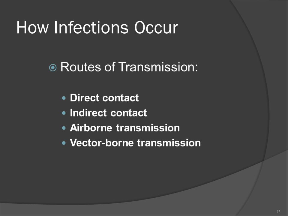 How Infections Occur Routes of Transmission: Direct contact
