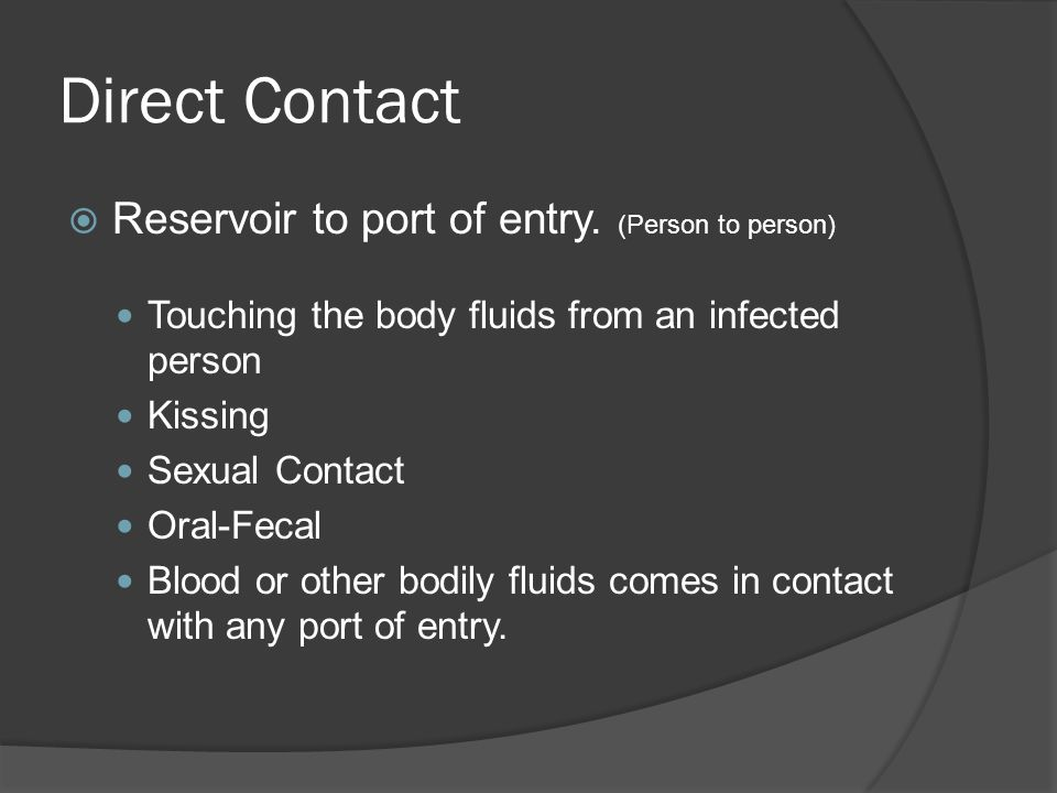 Direct Contact Reservoir to port of entry. (Person to person)
