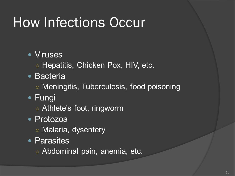 How Infections Occur Viruses Bacteria Fungi Protozoa Parasites