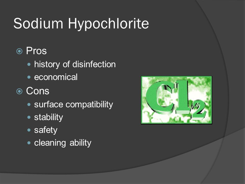 Sodium Hypochlorite Pros Cons history of disinfection economical