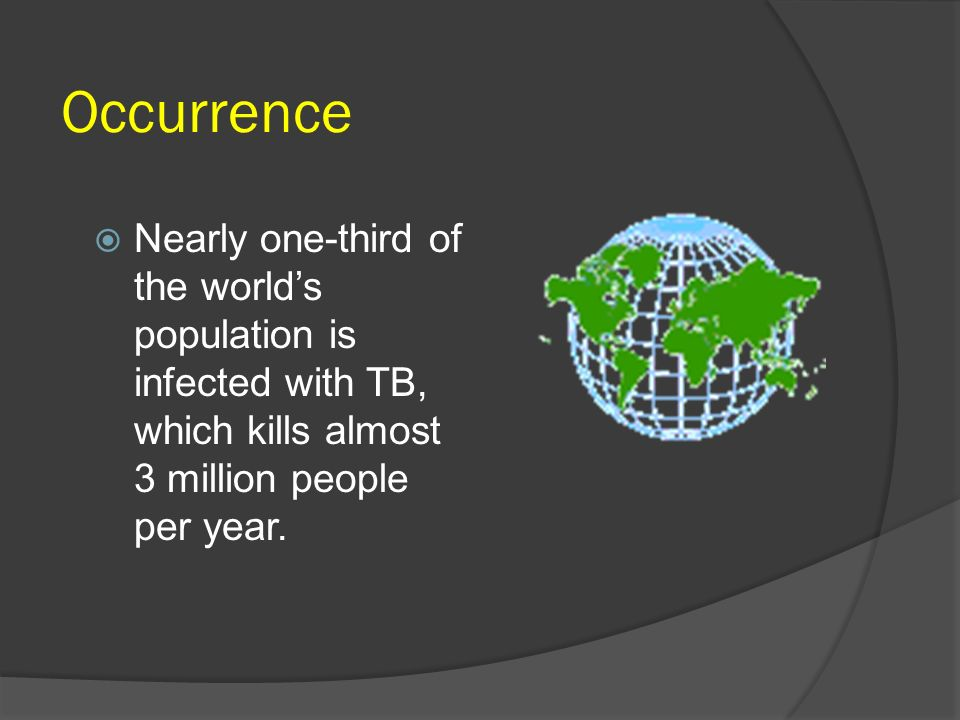 OccurrenceNearly one-third of the world's population is infected with TB, which kills almost 3 million people per year.