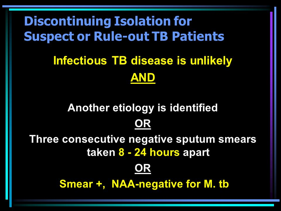 Discontinuing Isolation for Suspect or Rule-out TB Patients