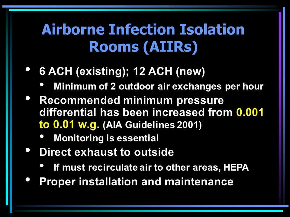 Airborne Infection Isolation Rooms (AIIRs)