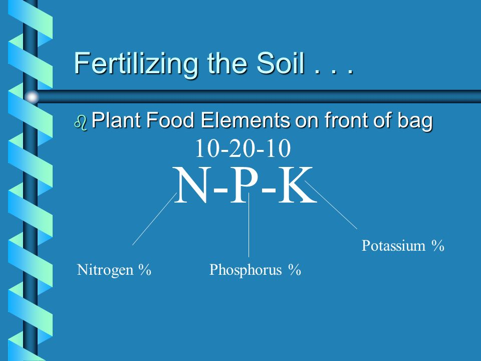 N-P-K Fertilizing the Soil . . . 10-20-10