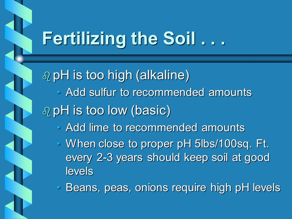Fertilizing the Soil . . . pH is too high (alkaline)