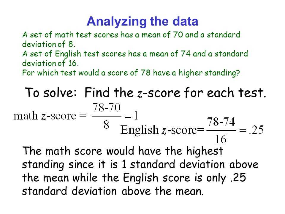 To solve: Find the z-score for each test.