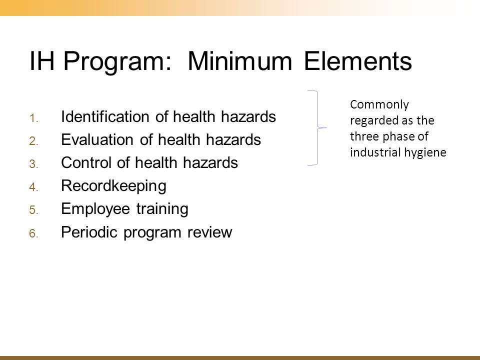 IH Program: Minimum Elements