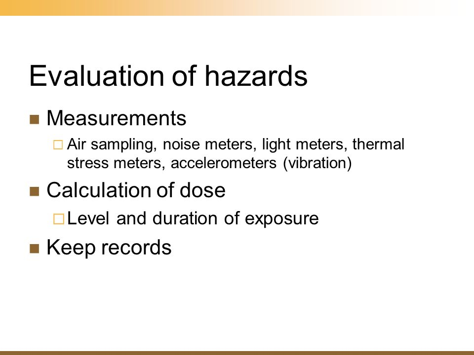 Evaluation of hazards Measurements Calculation of dose Keep records