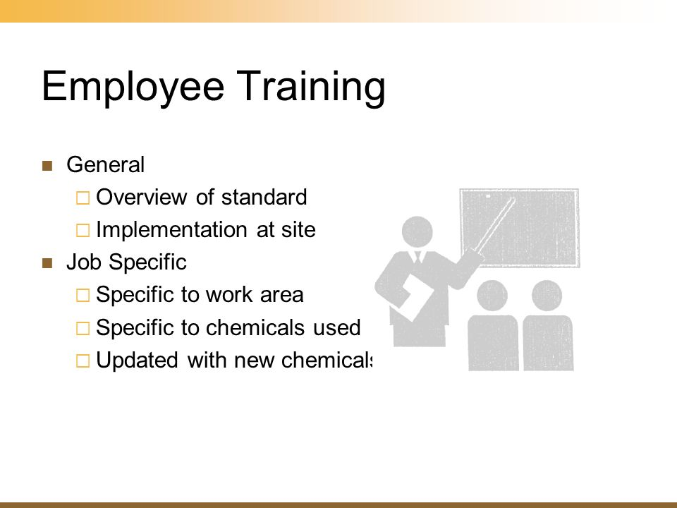 Employee Training General Overview of standard Implementation at site