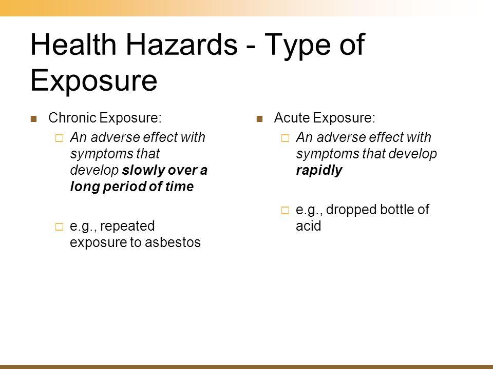 Health Hazards - Type of Exposure