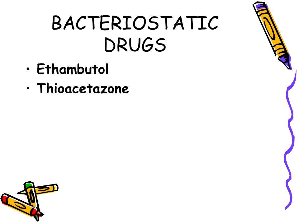 BACTERIOSTATIC DRUGS Ethambutol Thioacetazone