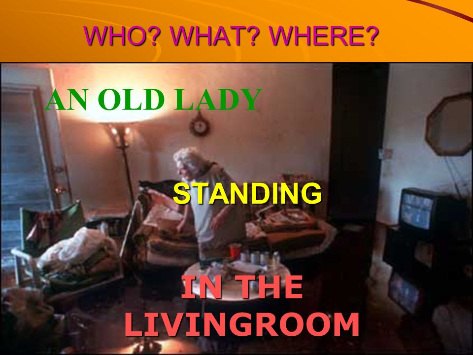 WHO WHAT WHERE AN OLD LADY STANDING IN THE LIVINGROOM