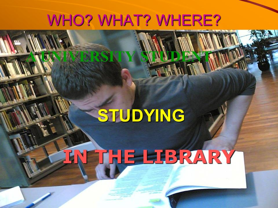 WHO WHAT WHERE A UNIVERSITY STUDENT STUDYING IN THE LIBRARY