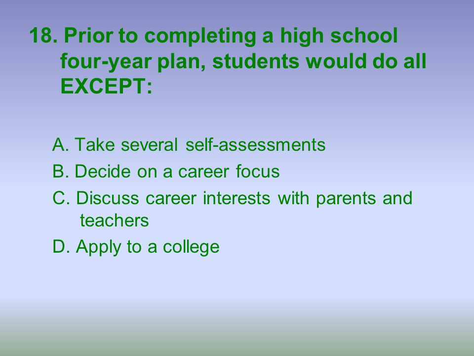 18. Prior to completing a high school four-year plan, students would do all EXCEPT: