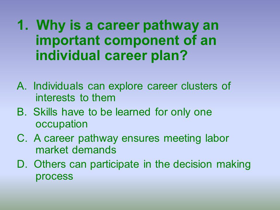 1. Why is a career pathway an important component of an individual career plan