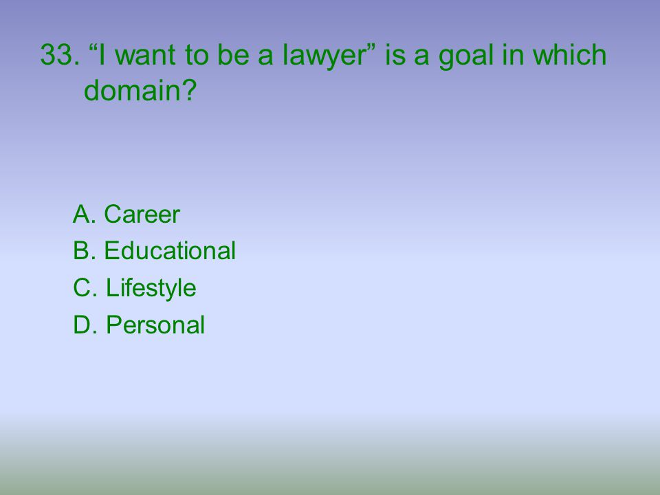 33. I want to be a lawyer is a goal in which domain
