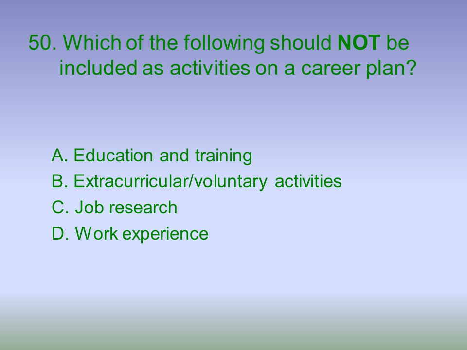 50. Which of the following should NOT be included as activities on a career plan